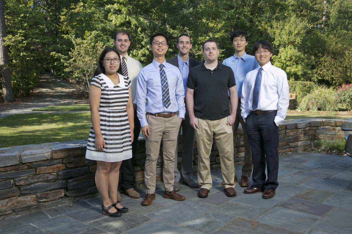 "Left to right: Jiani Huang (Chambers Scholar), Zachary Steelman (Chambers Fellow), Yangbo ""Abel"" Xie (Fitzpatrick Scholar), Jon William Stewart (Chambers Fellow), David Cunefare (Chambers Scholar), Xin Zhang (Chambers Fellow), Kevin Zhou (Chambers Fellow)."
