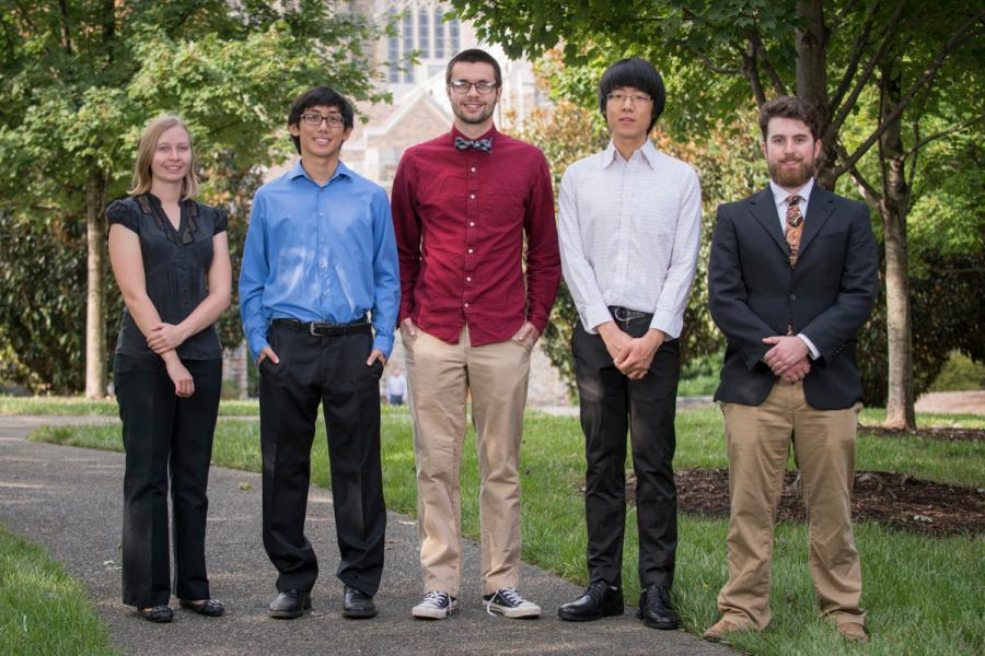 Left to right: Callie Woods (Chambers Scholar), Ren Odion (Chambers Fellow), Ethan Arnault (Chambers Fellow), RuijieDarius Teo (Chambers Fellow), Wiley Dunlap-Shohl (Chambers Scholar).  Not pictured: Alex Fisher