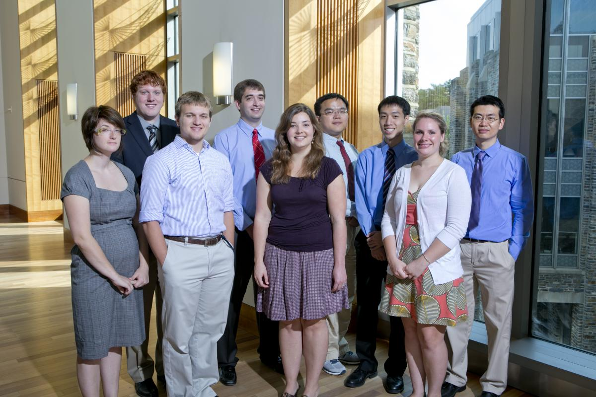Left to Right: Tana Villafana (Scholar), Brian Crouch (Fellow), Dalton Sycks (Fellow), William Eldridge (Fellow), Jenna Mueller (Scholar), Yuan Fang (Fellow), Derek Ho (Fellow), Lindsay McTague (Fellow), and Jong Kang Park (Scholar)