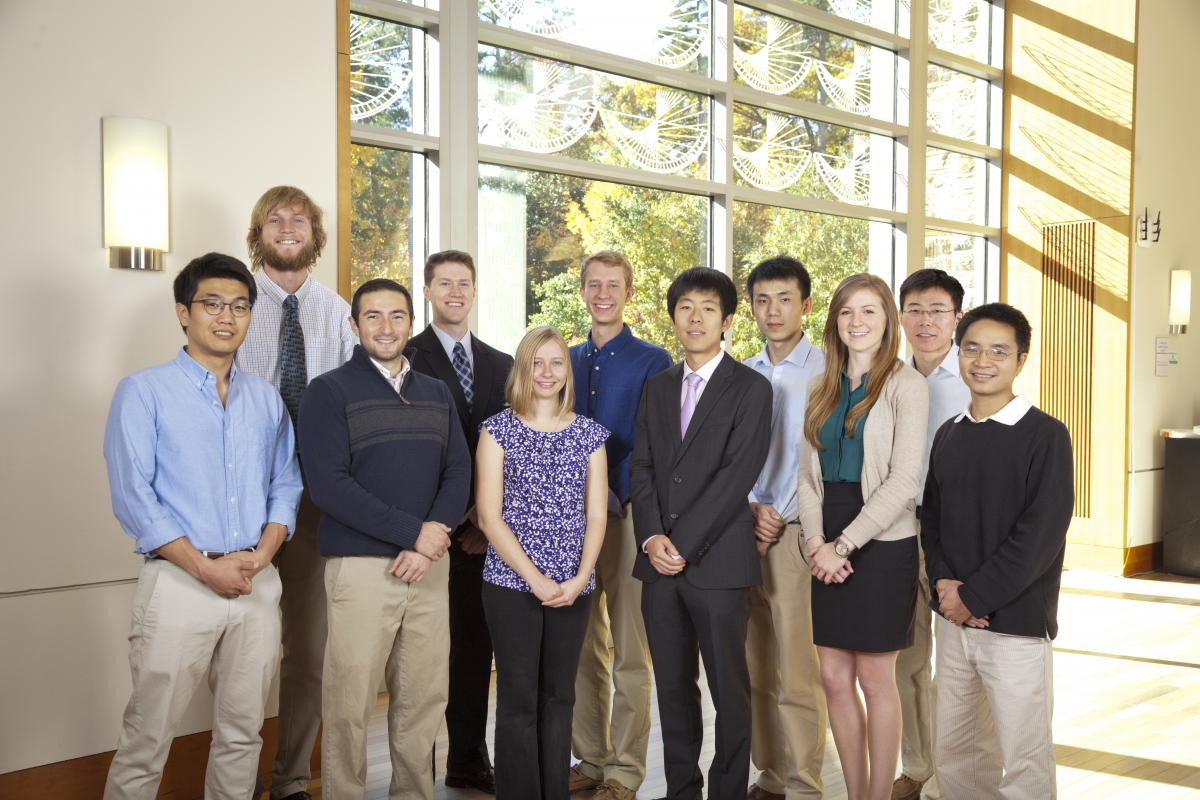 Left to Right: Han Sang Park (Chambers Fellow), Robert Morhard (Chambers Fellow), James Polans (Chambers Scholar), Brenton Keller (Chambers Fellow), Callie Woods (Chambers Fellow), Daniel Salo (Chambers Fellow), Ye Jin (Chambers Fellow), Weifeng Huang (Chambers Fellow), Bridget Crawford (Chambers Fellow), Yusong Bai (Chambers Scholar) and Hoan Ngo (Fitzpatrick Scholar).  Not pictured: Yang Zhao (Chambers Fellow).
